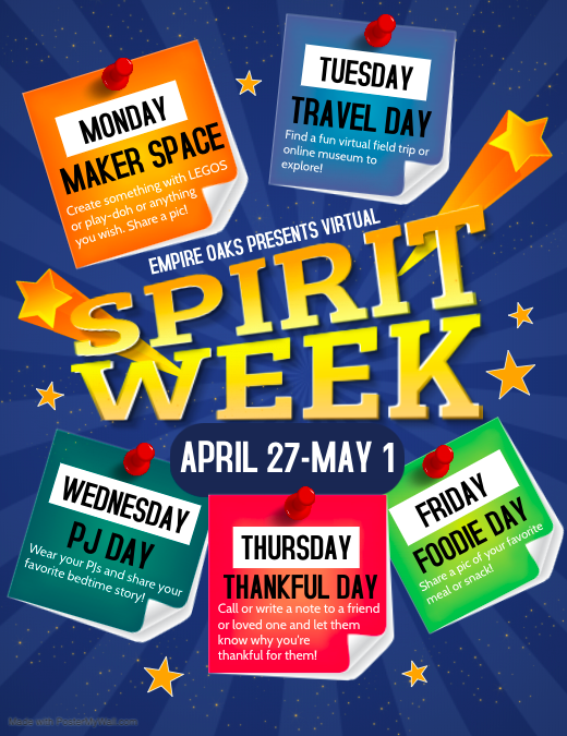 Virtual Spirit Week 4/27-5/1