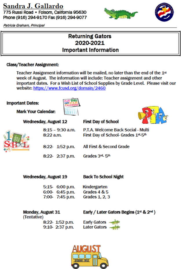 Returning Students 2020-21 - Important Information