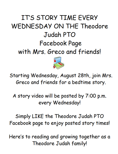 Weekly Story Time with Mrs. Greco and Friends!!