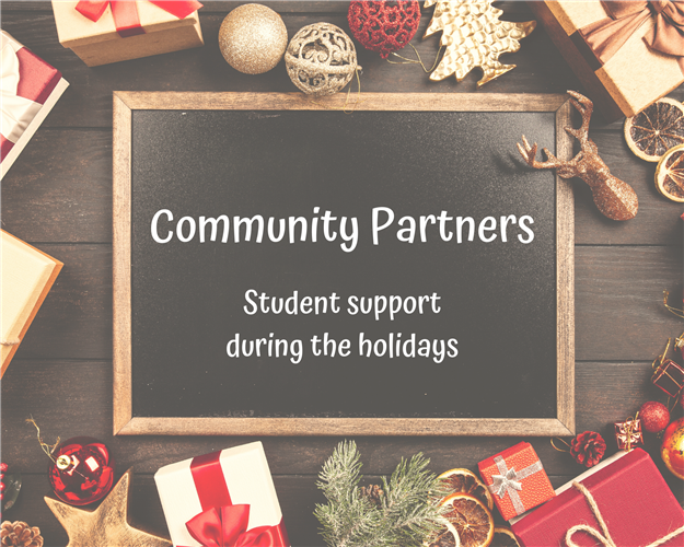 Graphic: Community partners student support during the holidays