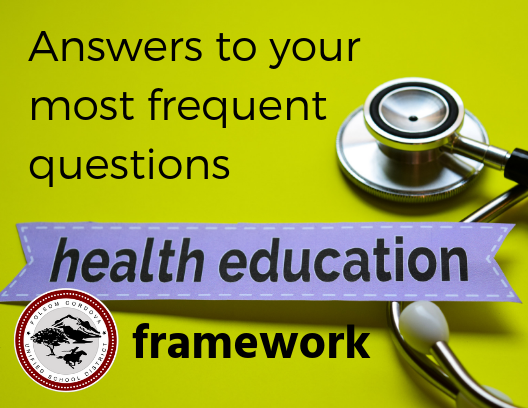 Graphic announcing answers to your most frequent questions about Health Education