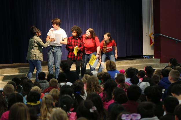FHS Theatre students perform Dr. Seuss stories for elementary students for Read Across America