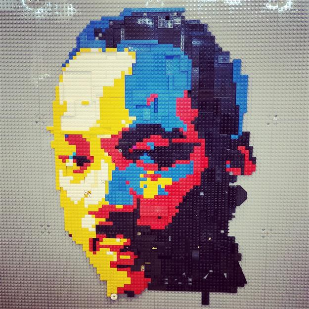 Lego mural of Martin Luther King, Jr. created by Mills Middle School students