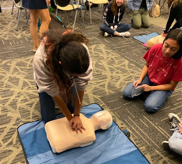 Cordova High School students learn CPR during a training