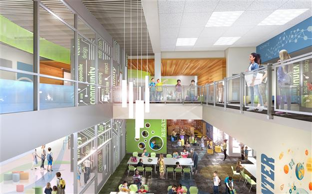 An architectural rendering showing the interior of the new Mangini Ranch Elementary School