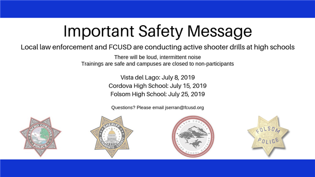 Graphic: safety message for active shooter drills at high schools