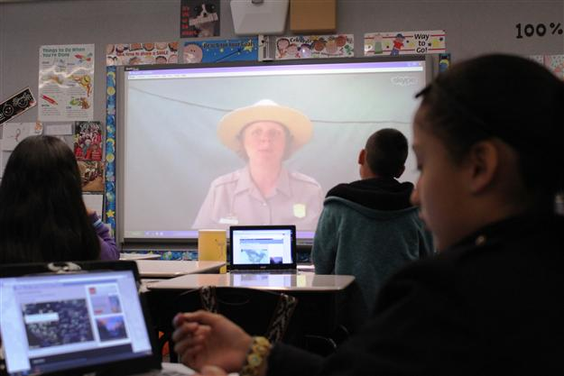 Students Skype with a Yellowstone park ranger during a classroom activity