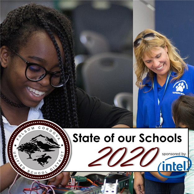 Photos of students and teachers announcing 2020 State of our Schools
