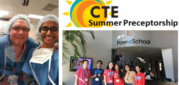 Graphic with CTEPP; pictures of students in medical internship; picture of students at Powerschool