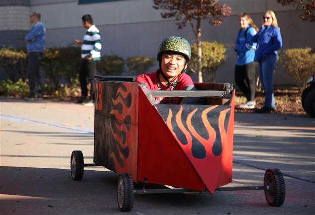 A Folsom High student races his hand-built soap box car